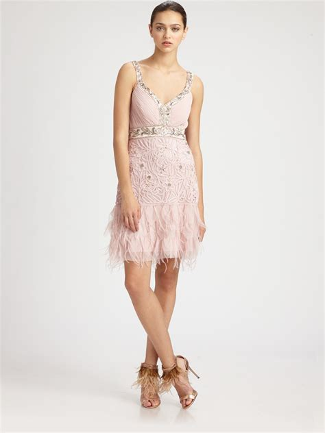 beaded feather dress sue wong beaded feather dress in pink lyst