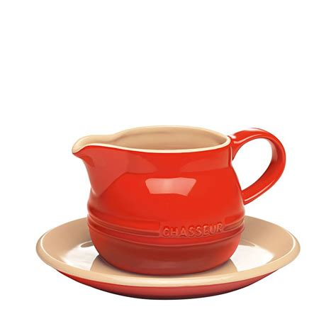 gravy boat red chasseur la cuisson gravy boat saucer 450ml red buy