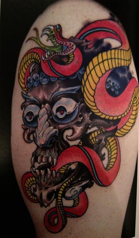 grime tattoo quot snake with tibetan skull quot grime owner of skull sword