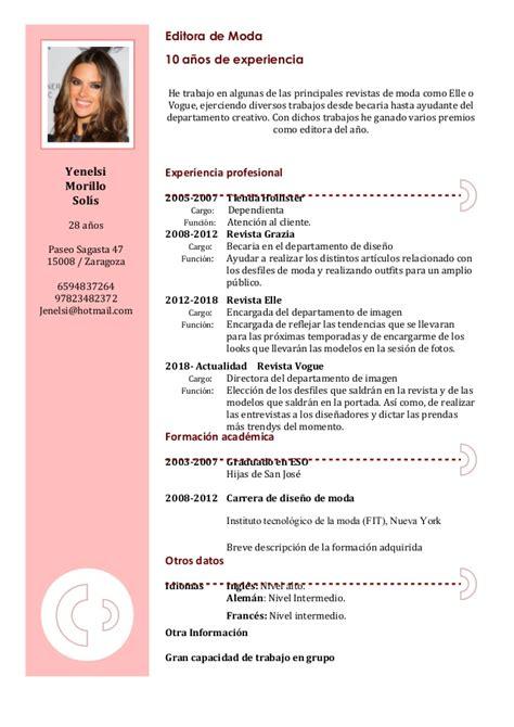 Modelo De Curriculum Vitae Para España Formato De Curriculum Word Madrat Co