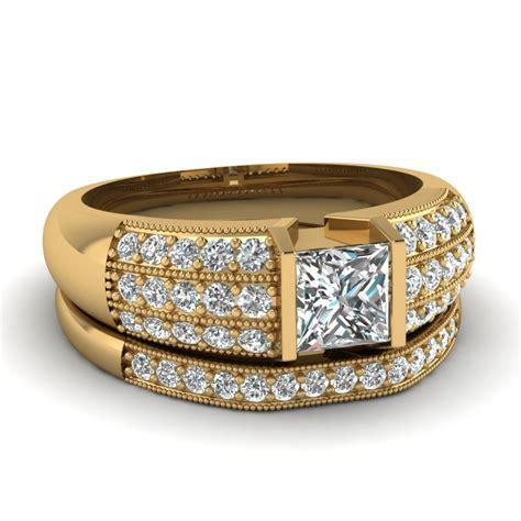 yellow gold princess white engagement wedding ring