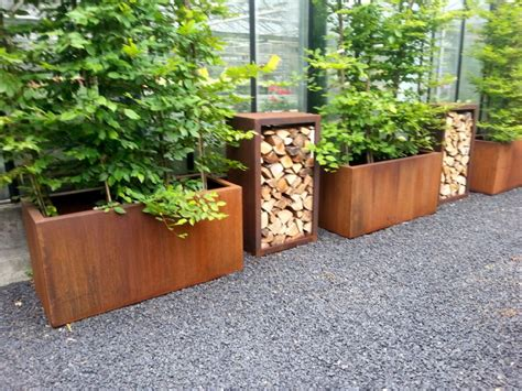 Corten Steel Trough Planters from potstore.co.uk