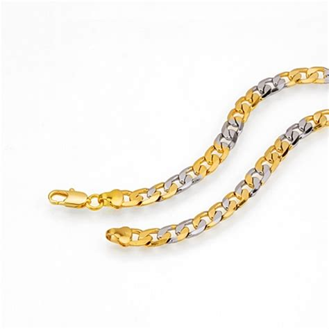 s jewelry 18kgp yellow white gold necklace top flat