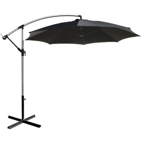 Sun Garden Umbrella by 3m Black Overhanging Garden Parasol Sun Shade With Crank