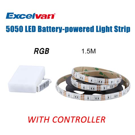 Battery Powered Colored Led Light Strips 1 5m 5050 Smd 45led Rgb 20 Color Light Battery Powered Remote New Ebay