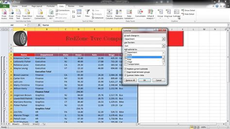 tutorial excel subtotal how to insert automatic subtotals in excel youtube