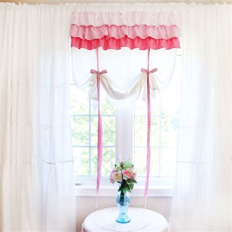 shabby chic balloon curtains shabby chic white ruffled tie up shade