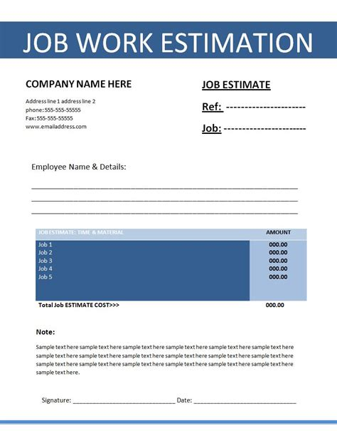 free job estimation template free word s templates