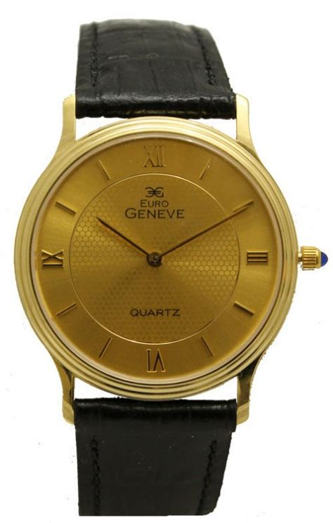 geneve 14k gold with leather the