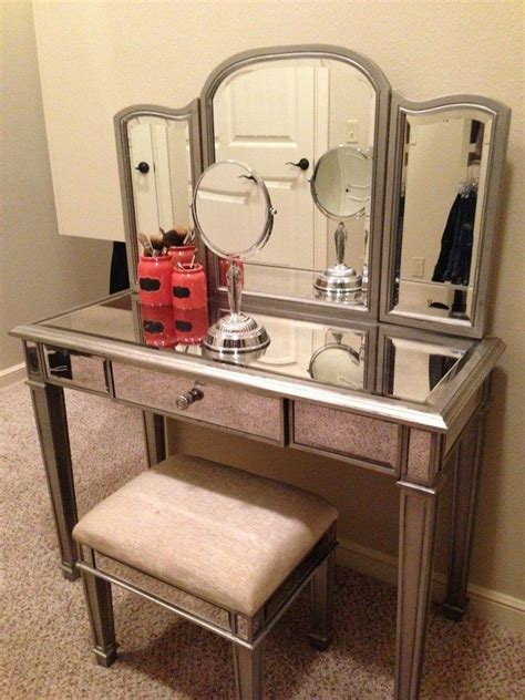 beautiful Small Bathroom Vanity With Drawers #4: furniture-bedroom-retro-silver-tone-make-up-vanity-with-single-drawer-and-three-panel-mirror-makeup-vanity-with-drawers-and-mirror.jpg