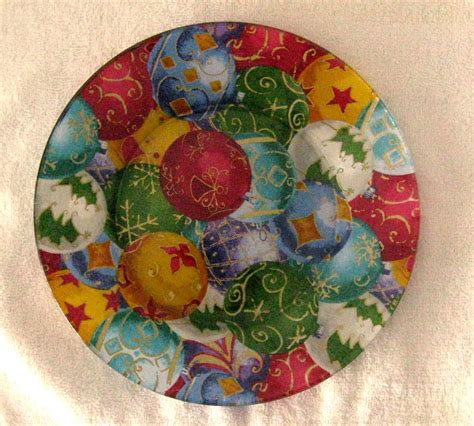 Decoupage Glass Plates - decorative decoupage fabric backed plate by