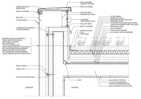 green roof detail section green roof parapet detail acrot 232 re pinterest green