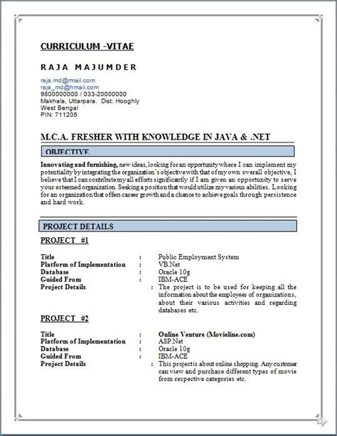 Mca Resume Format by Resume For Mca Student Resume Ideas