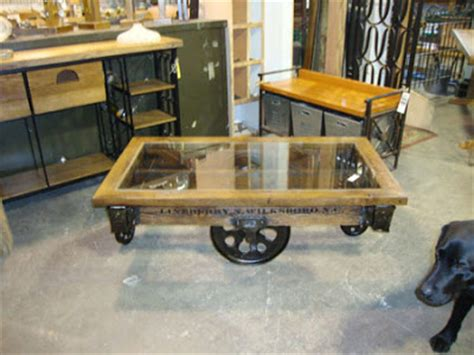 furniture factory cart coffee table black salvage architectural antiques custom