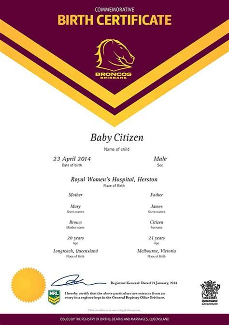 Birth And Marriage Records Buy A Queensland Commemorative Birth Certificate Your