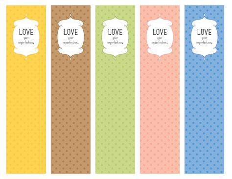 printable bookmarks pdf love your imperfections bookmarks pdf printable my