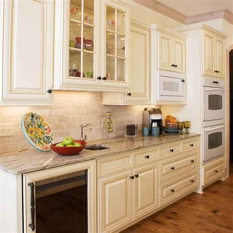 Glass Kitchen Backsplashes 20 beautiful cream kitchen cabinets photos ward log homes