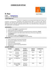 Sle Resume For Freshers Pdf by Fresher Resume
