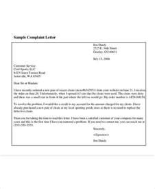 Complaint Letter Of Customer Complaint Letter Sle