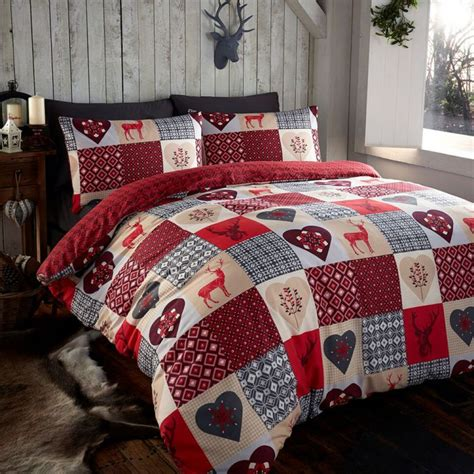 Patchwork Quilt Cover - rustic animal stag quilt duvet cover