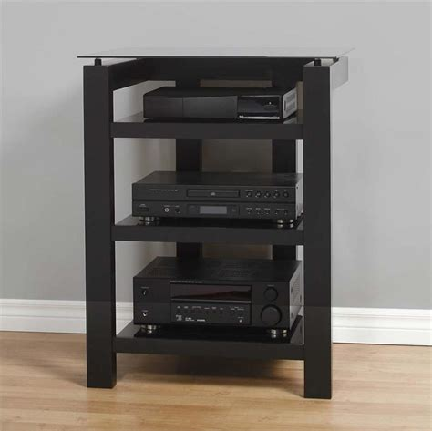 Wood Audio Rack by Plateau Sl Series Black Floating Glass And Wood 4 Shelf