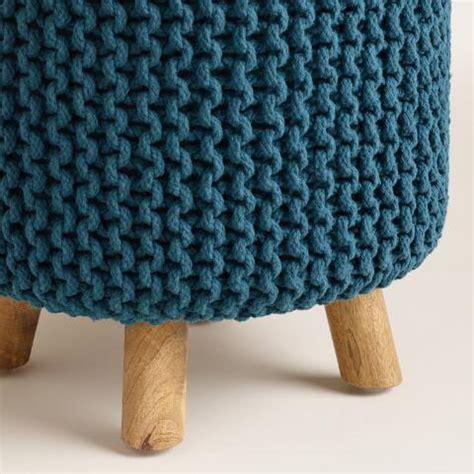Chunky Stool by Blue Chunky Knit Nia Stool World Market