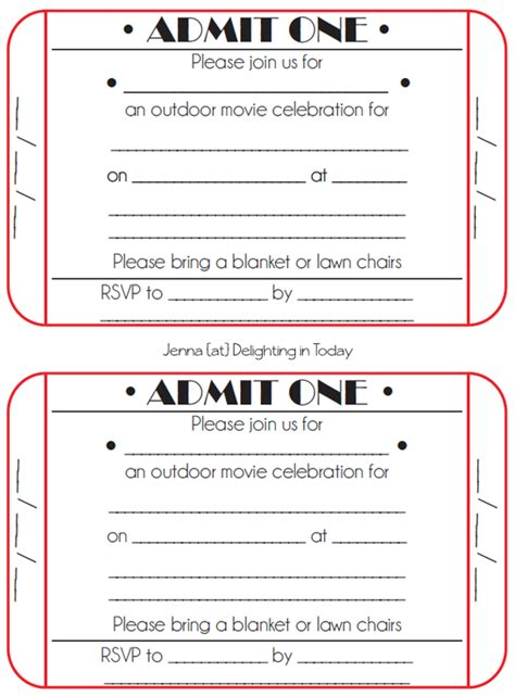 free printable movie tickets invitations 8 best images of free printable ticket invitation free