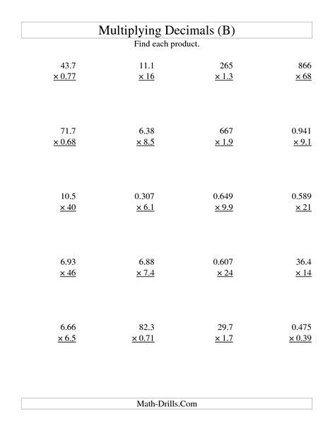 third grade multiplication worksheet multiplying decimal