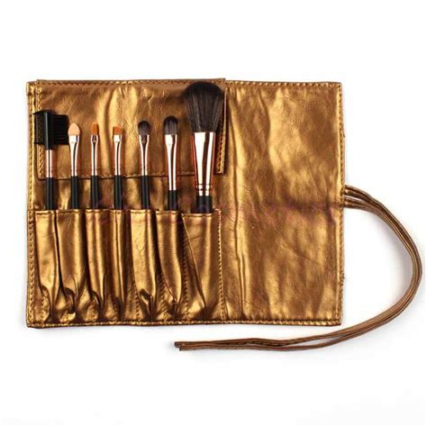Golden Bag 7 essential brush makeup set in sleek golden bag luvit
