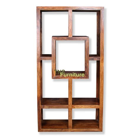 tns furniture mansa sheesham geometric bookcase