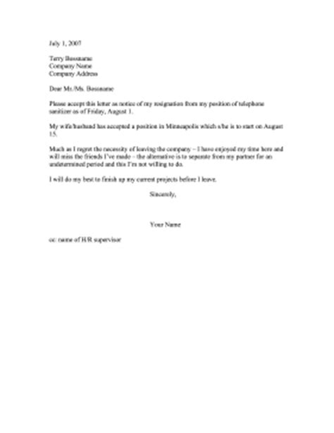 Resignation Letter Relocation Reason Resignation Partner Relocating