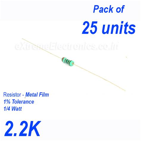 resistor 2k 2 high precision metal resistor 1 tolerance 1 4 0 25 watt