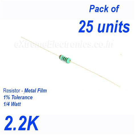 resistor 2k2 high precision metal resistor 1 tolerance 1 4 0 25 watt