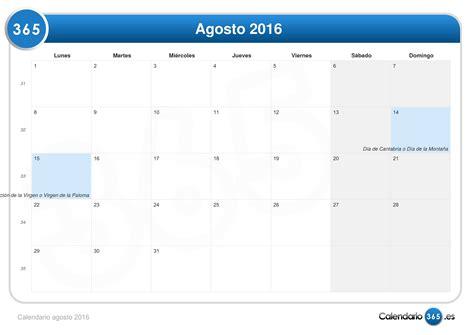 tres daas de agosto calendario agosto 2016