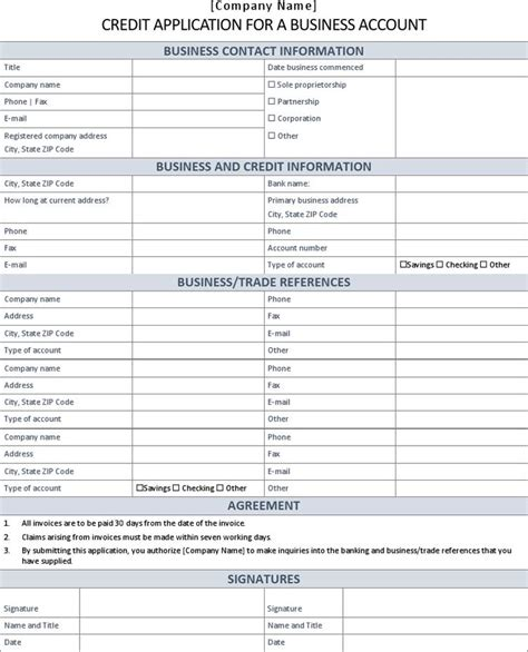 Business Credit Application Template Excel credit application form free premium