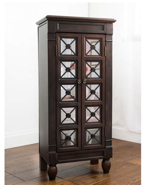 tall jewelry armoire jewelry armoire stand wooden mirrored box tall storage