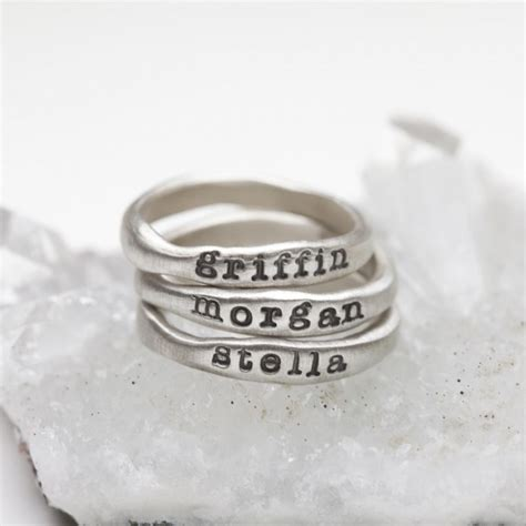 stacking name rings sterling silver and meaning by