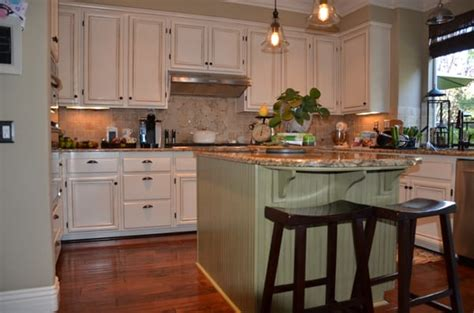 Antique Green Kitchen Cabinets | antique white and green kitchen cabinet re finish yelp