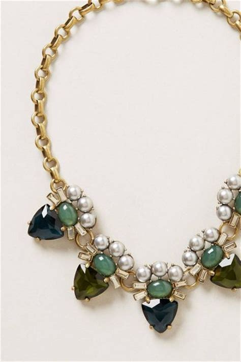 gerard yosca green eye bib necklace in green blue motif