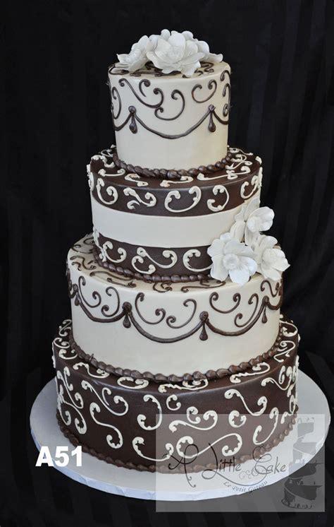 brown  white buttercream wedding cake