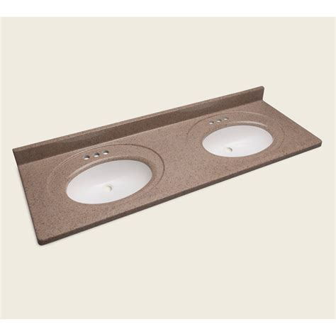 double bathroom sink tops shop style selections vanity walnut cultured marble