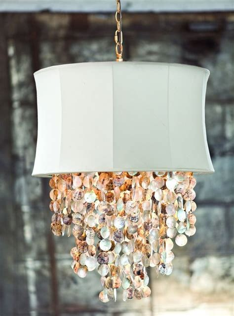 Ivory Bell Chandelier With Abalone Shell Accents Beach Abalone Shell Chandelier