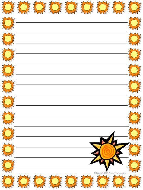 summer writing paper template stationery primarygames free printable worksheets
