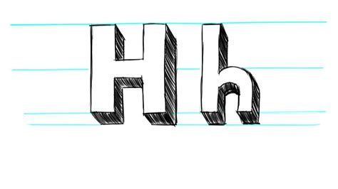 Letter H Drawing by How To Draw 3d Letters H Uppercase H And Lowercase H In