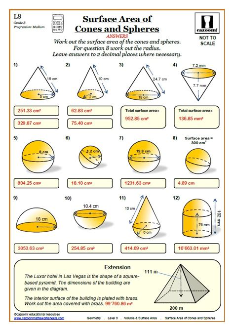 Volume Worksheets With Answers by Volume And Surface Area Cazoom Maths Worksheets
