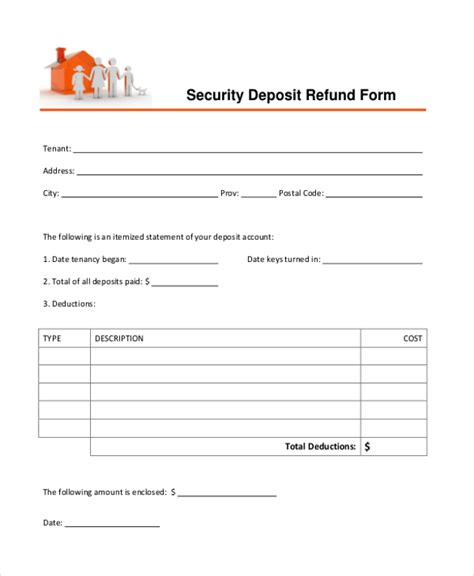 refund form template sle security deposit refund form 8 free documents in pdf