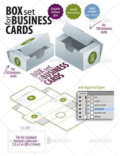 9 business card box templates design files free