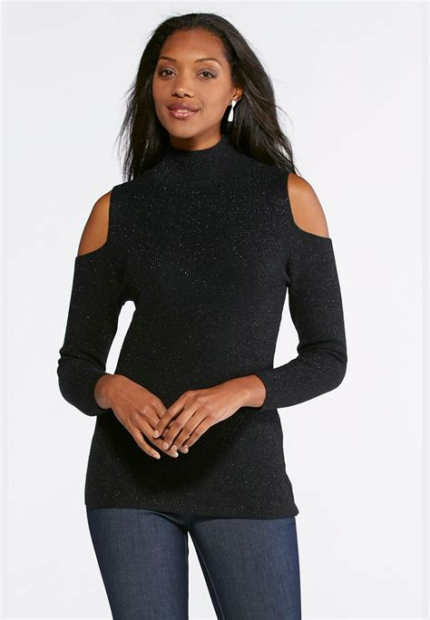 Cold Shoulder Sweater shimmering cold shoulder sweater plus pullovers cato fashions