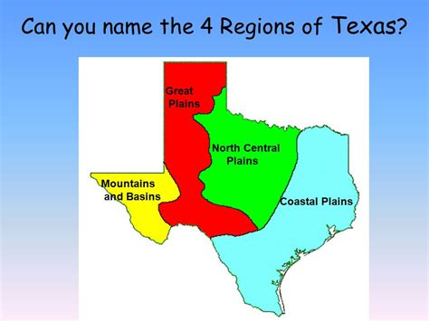texas four regions map regions of texas ppt