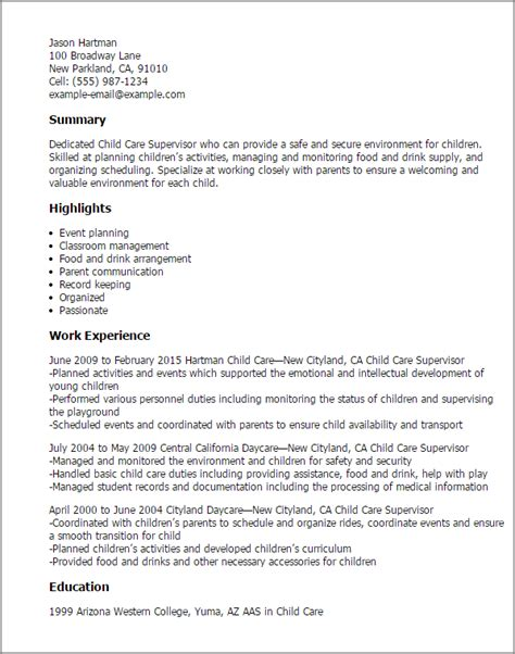 Resume For Child Care by Professional Child Care Supervisor Templates To Showcase